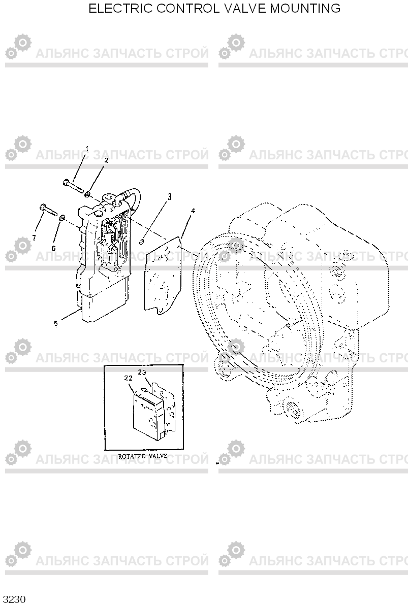 3230 ELECTRIC CONTROL VALVE MOUNTING HL750(-#1000), Hyundai